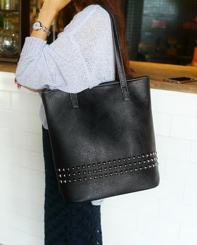 The Rivet - Tote Bags- Leather Tote Bag for women with rivets-leather handbag-black-large totes - big tote leather purse-vintage (2)