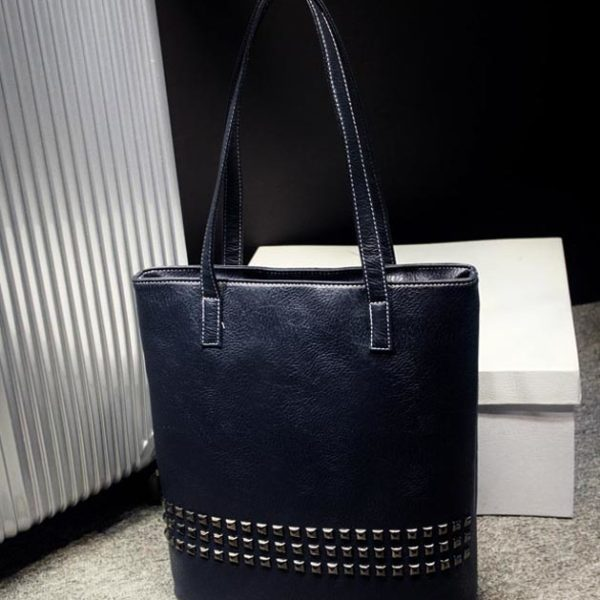 The Rivet - Tote Bags- Leather Tote Bag for women with rivets-leather handbag-black-large totes - big tote leather purse-vintage (5)