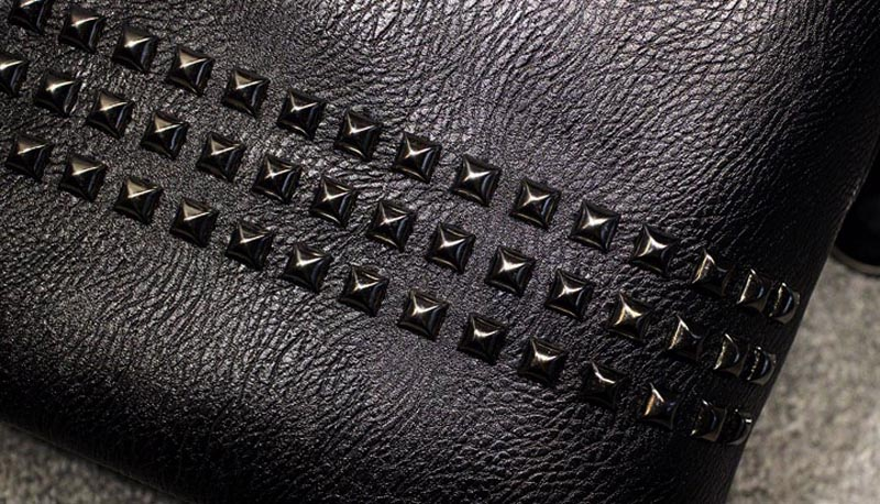 The Rivet - Tote Bags- Leather Tote Bag for women with rivets-leather handbag-black-large totes - big tote leather purse-vintage (6)