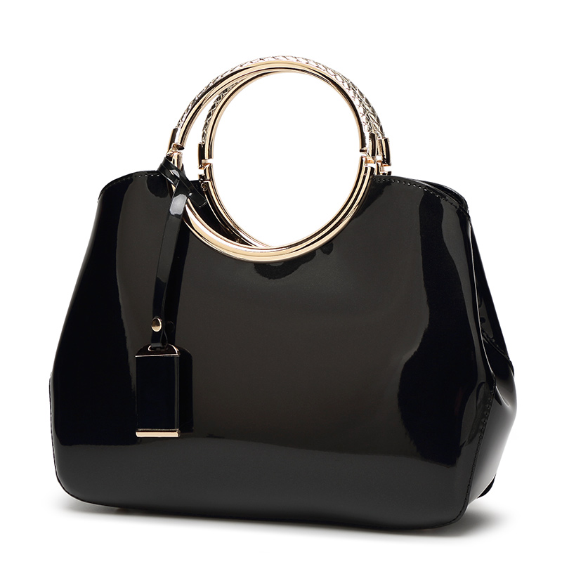 The Circle Bag-Clutch-Leather-HandBag-Crossbody-Leather-Bags-for-Women-Shoulder-bag-leather-with-circle-handle-zipper-BLACK