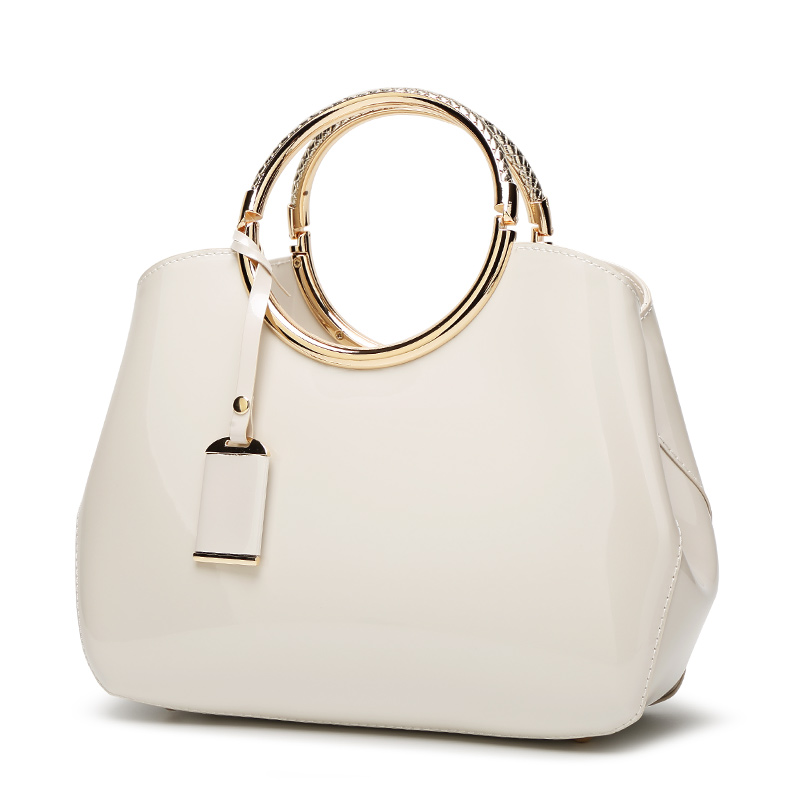 The Circle Bag-Clutch-Leather-HandBag-Crossbody-Leather-Bags-for-Women-Shoulder-bag-leather-with-circle-handle-zipper-WHITE
