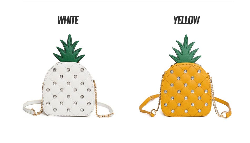 The Pineapple Bag - Clutch Bag - Beautiful Mini Pineapple Women Messenger Bag with Chain & Diamonds -Shoulder Bag - Crossbody Bags for women-white-yellow (13)