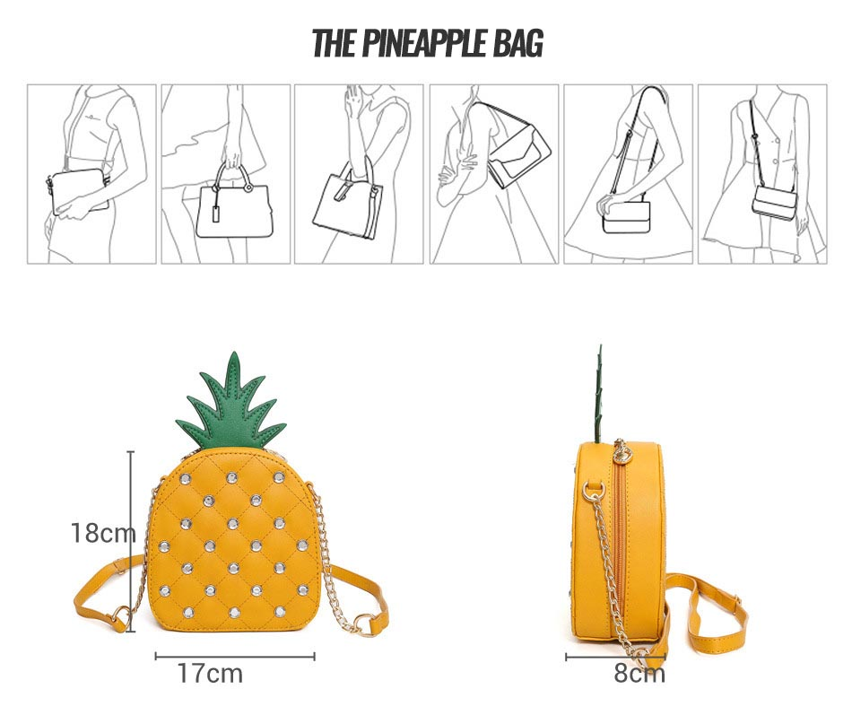 The Pineapple Bag - Clutch Bag - Beautiful Mini Pineapple Women Messenger Bag with Chain & Diamonds -Shoulder Bag - Crossbody Bags for women-white-yellow (14)
