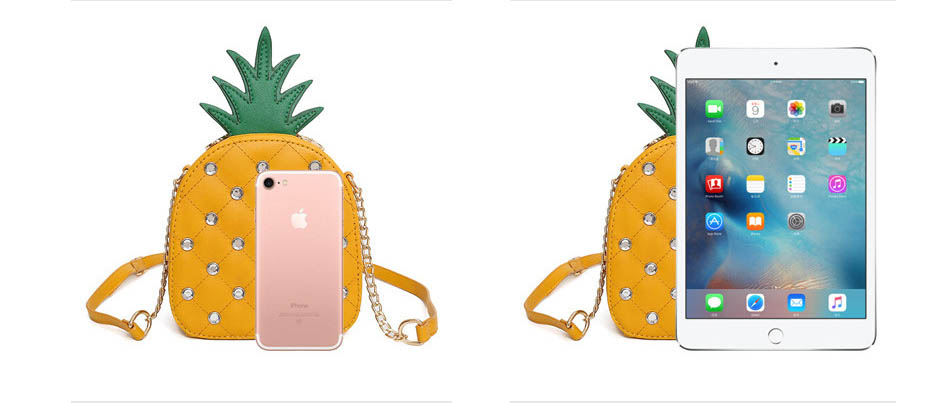 The Pineapple Bag - Clutch Bag - Beautiful Mini Pineapple Women Messenger Bag with Chain & Diamonds -Shoulder Bag - Crossbody Bags for women-white-yellow (2)