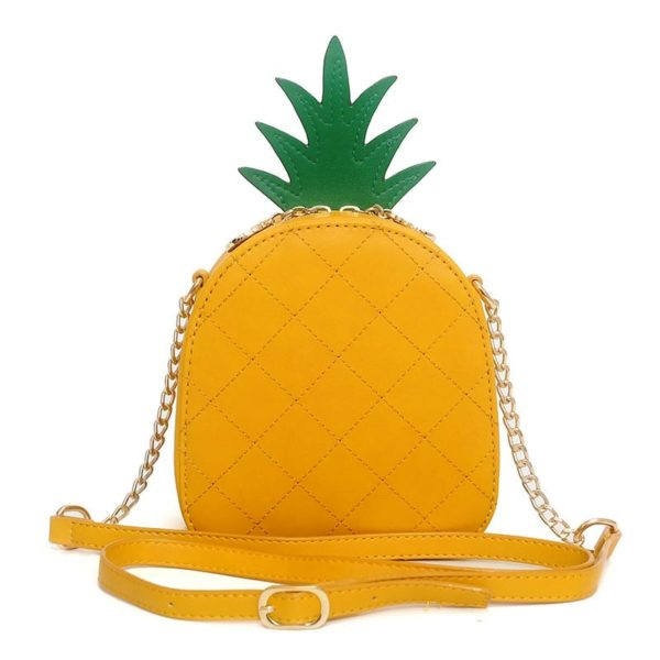 The Pineapple Bag - Clutch Bag - Beautiful Mini Pineapple Women Messenger Bag with Chain & Diamonds -Shoulder Bag - Crossbody Bags for women-white-yellow (7)