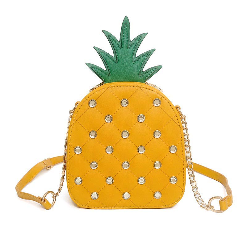 The Pineapple Bag - Clutch Bag - Beautiful Mini Pineapple Women Messenger Bag with Chain & Diamonds -Shoulder Bag - Crossbody Bags for women-white-yellow (9)