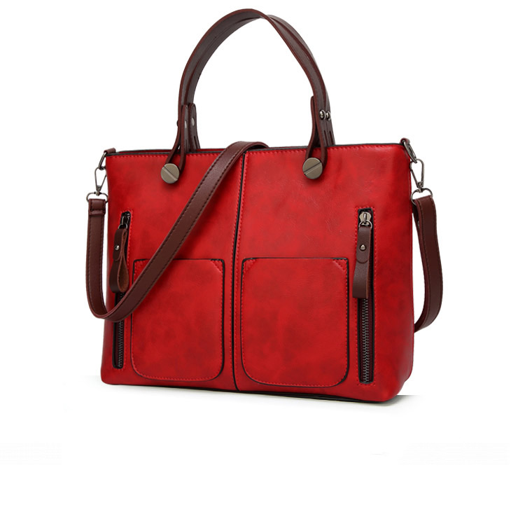 Tote Bag Leather Vintage Shoulder