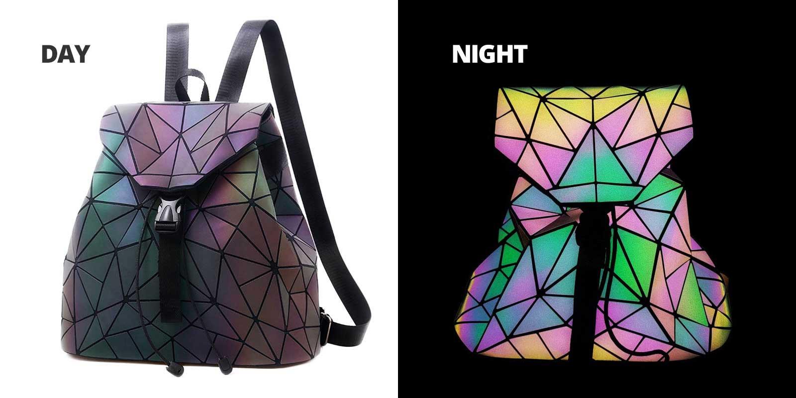 Diamond Fashion Luminous Backpack Women Geometric Back Bags Female Bckpack School Bag Girl 5
