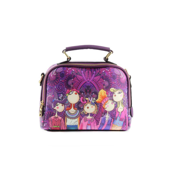 The-Ladies-Handbag -Leather-Purse-with-Abstract-Design-Cartoon-Crossbody-purse-Handbag-for-girls-purple