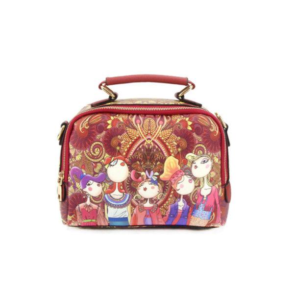 The-Ladies-Handbag -Leather-Purse-with-Abstract-Design-Cartoon-Crossbody-purse-Handbag-for-girls-red